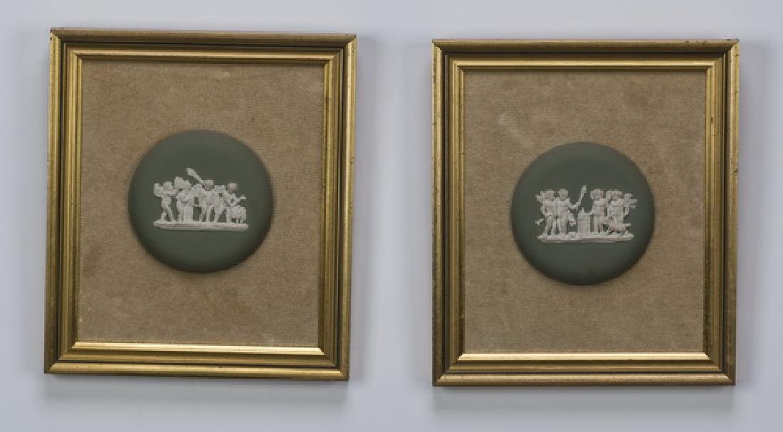 "Pair of framed putti jasperware plaques, 9""h"