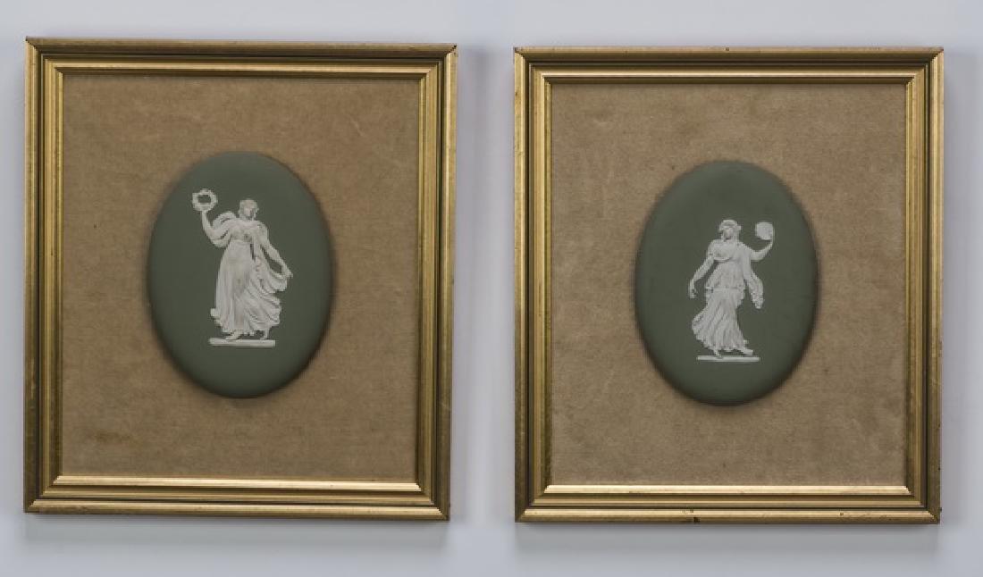 Pair of framed 'dancing hours' jasperware plaques