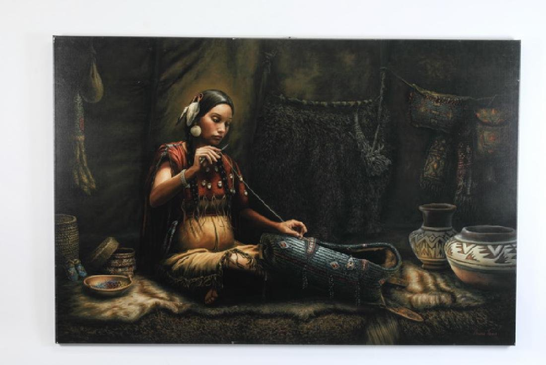 Monumental giclee of Native American maiden, signed