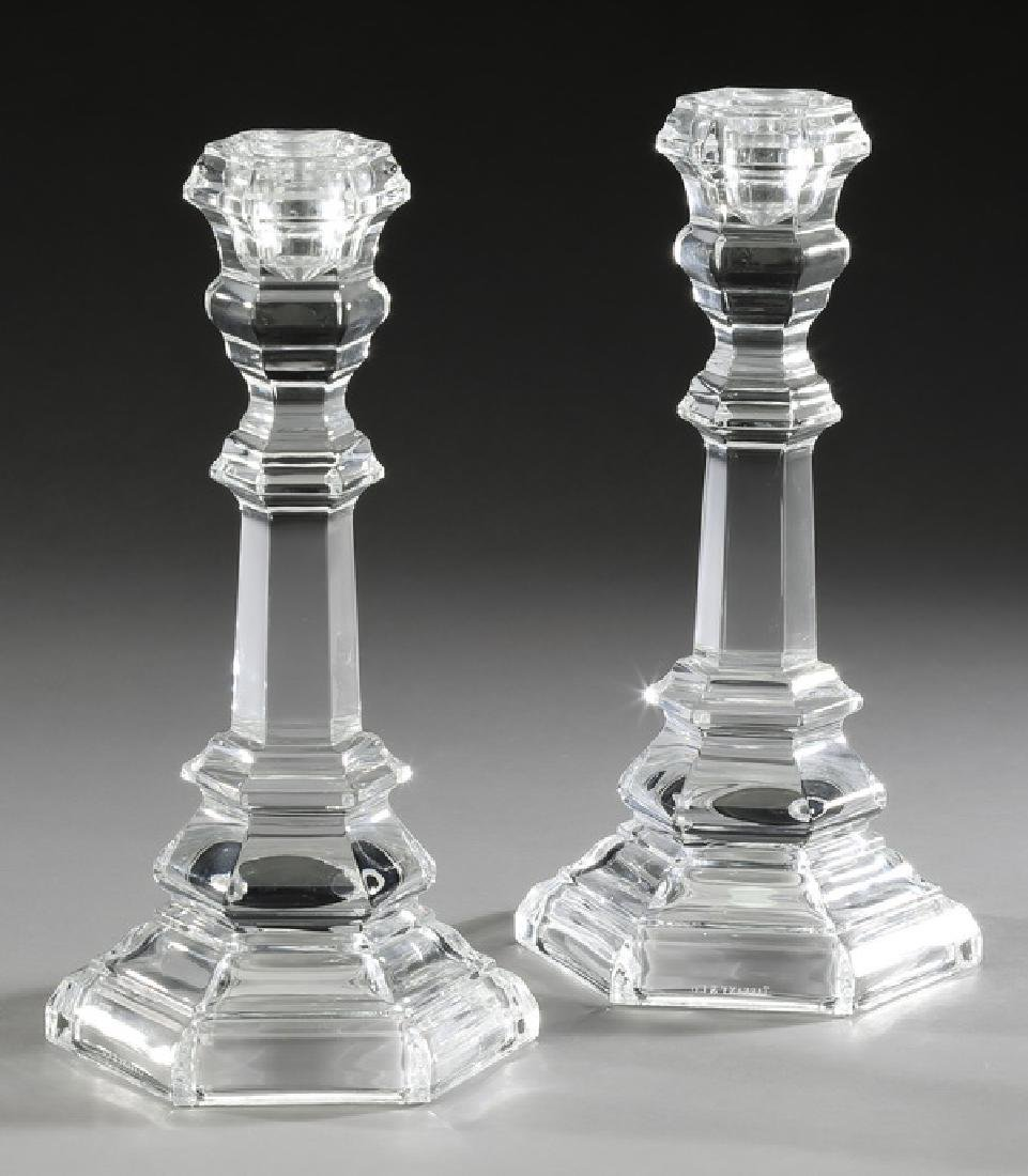 (2) Tiffany & Co crystal 'Plymouth' candlesticks