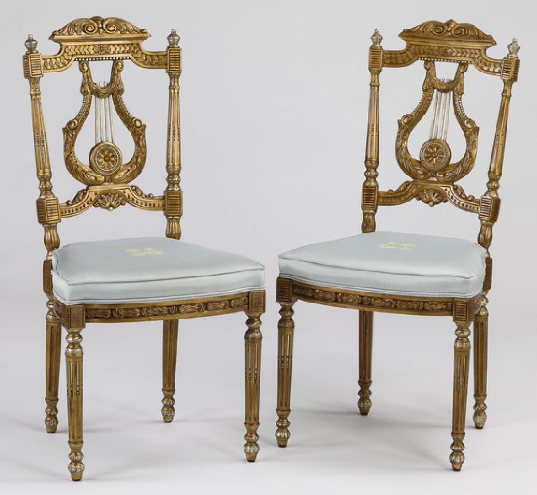 (2) Theodore Alexander gilt lyre back boudoir chairs