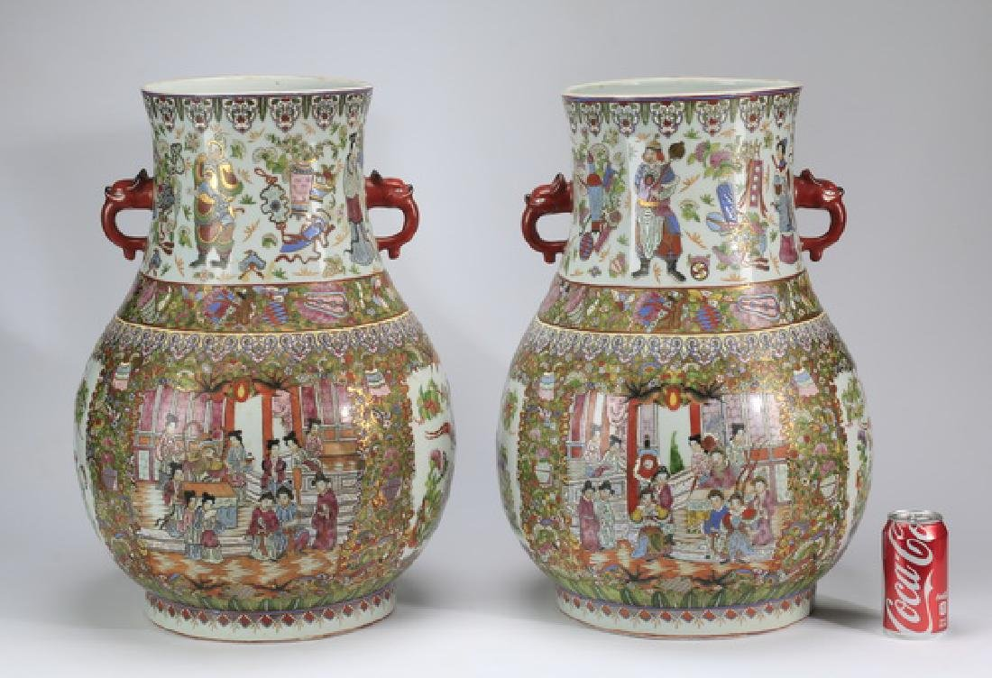 "(2) Large Chinese Rose Medallion floor vases, 23""h"