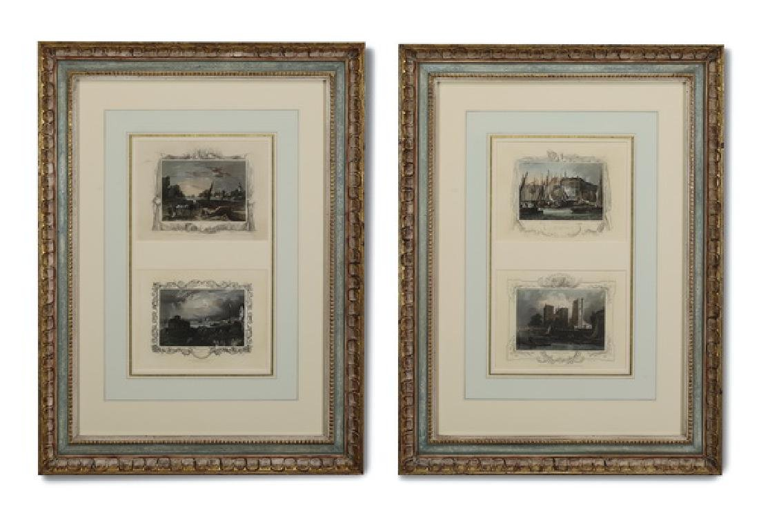 (2) 19th c. pairs of English color steel engravings