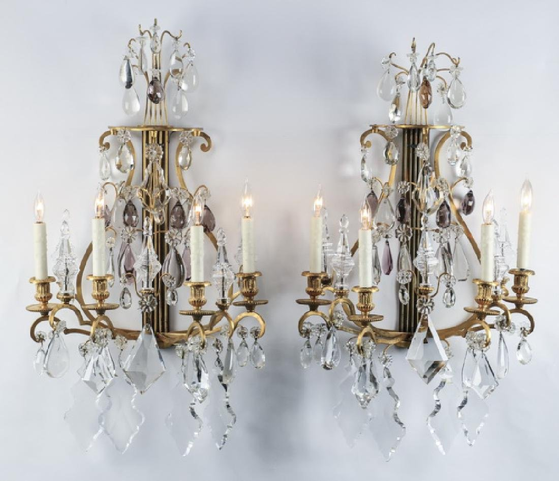 (2) Extravagant French crystal & gilt bronze sconces
