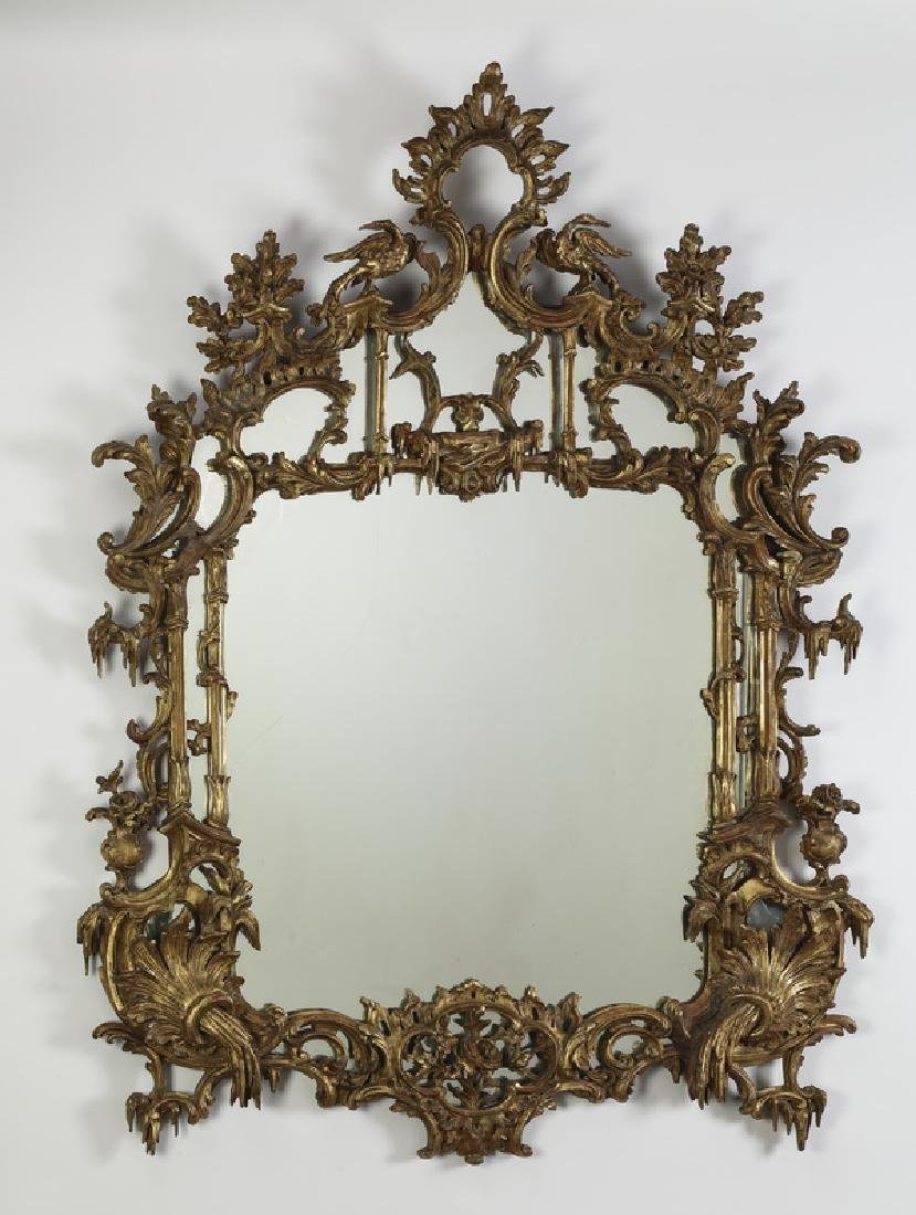 "19th c. Chinese Chippendale gilt wood mirror, 60""h"