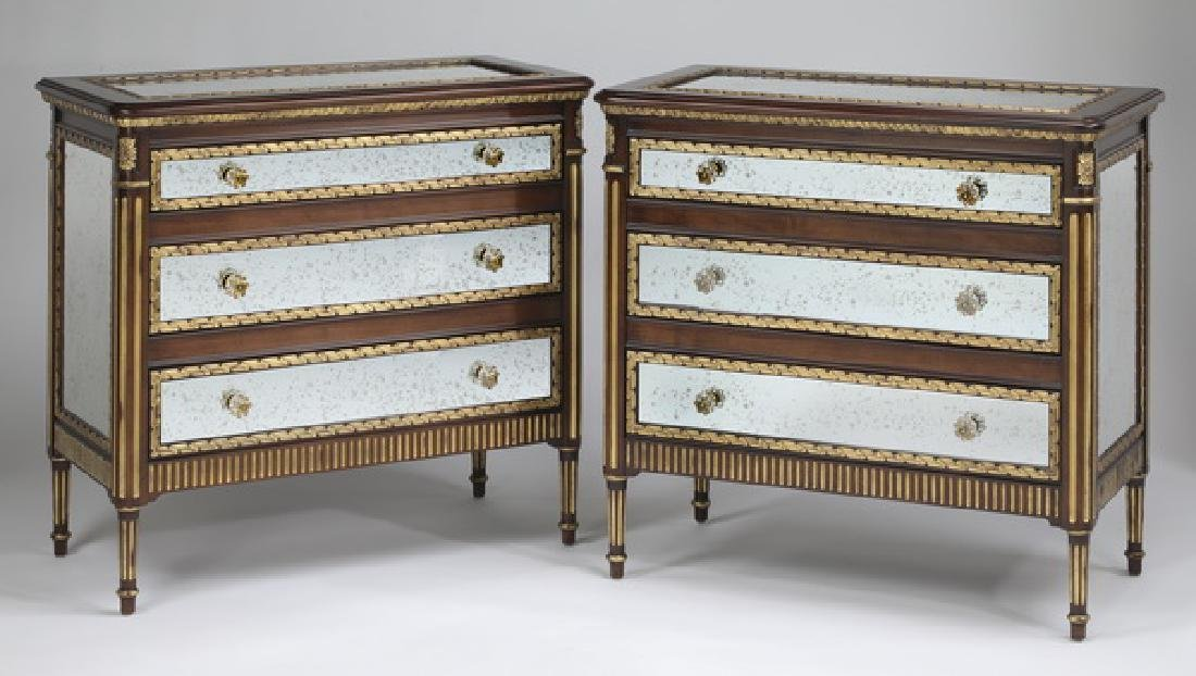 (2)  E.J.  Victor three drawer mirrored chests