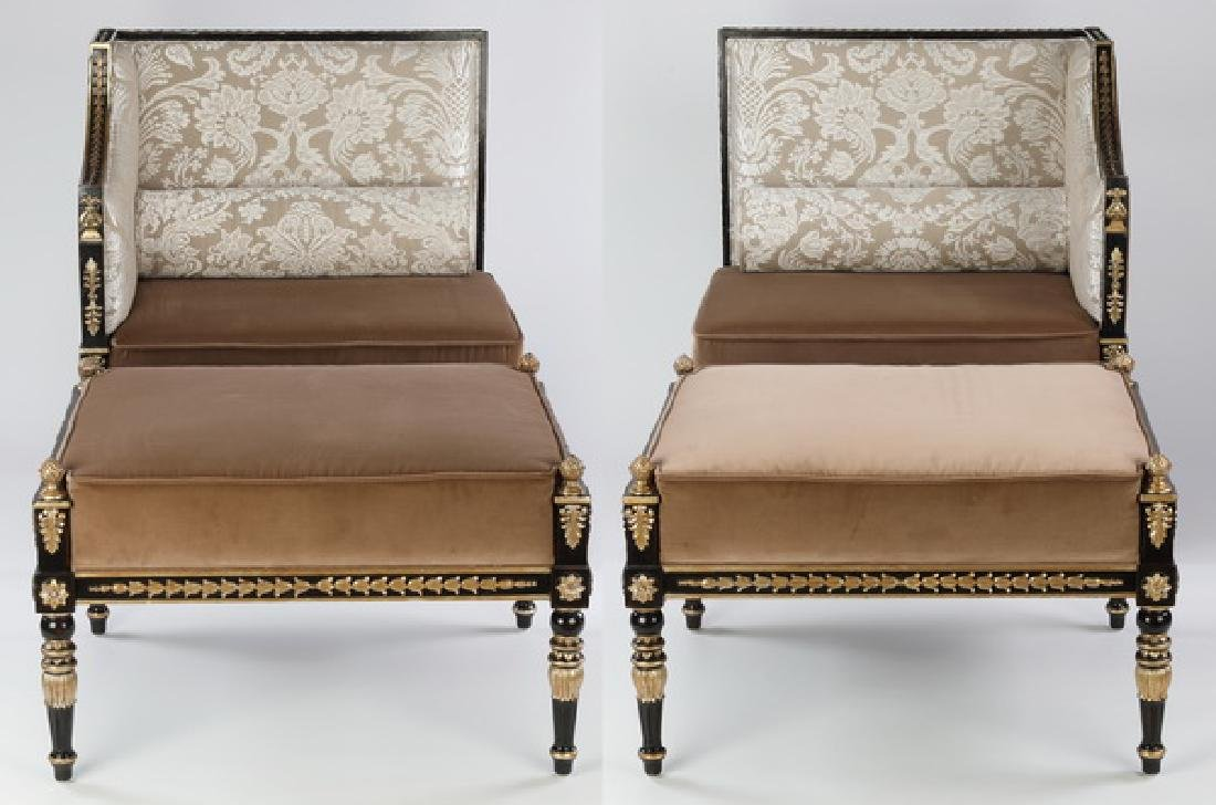 (2) Maitland-Smith side chairs and ottomans