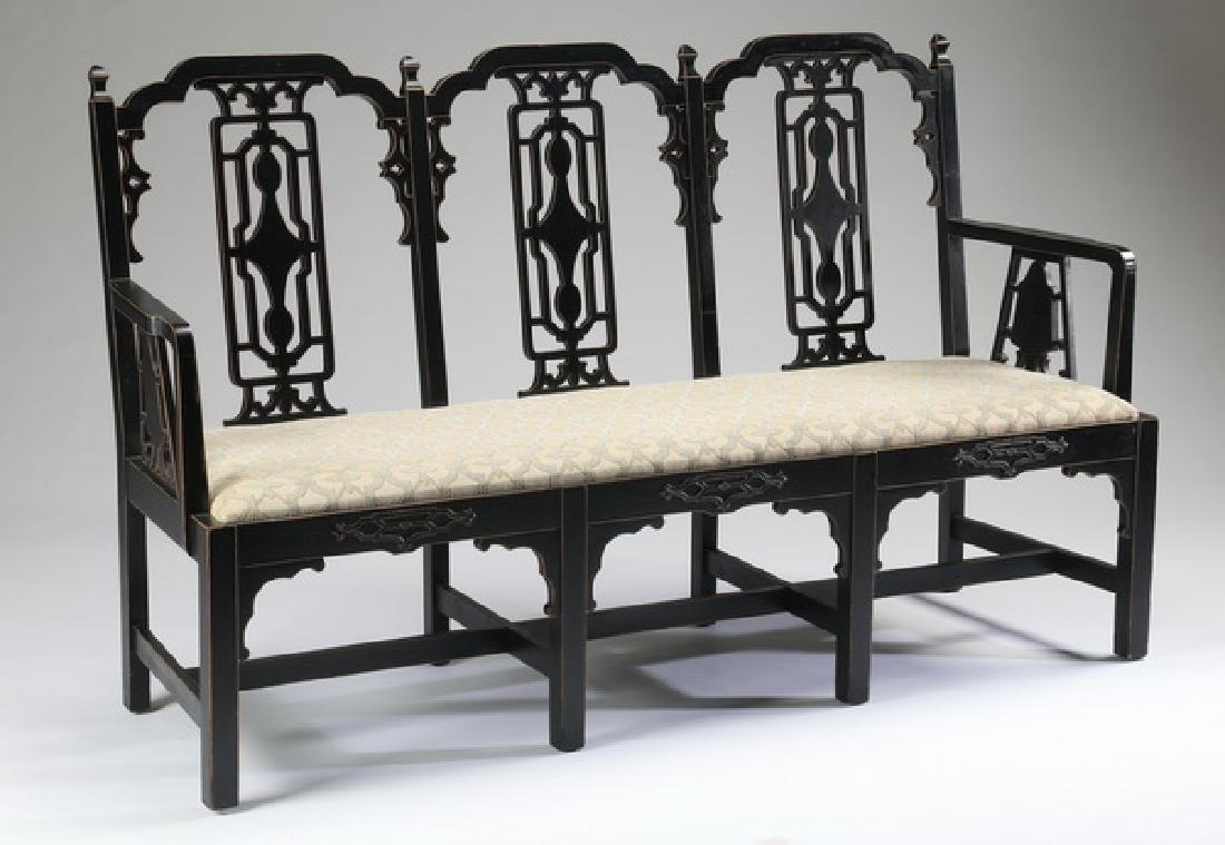 "Ebonized Chinoiserie style bench, 68.5""w"