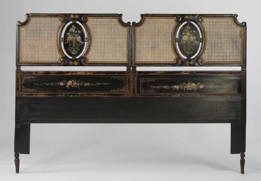 Early 20th c. king size paint decorated headboard