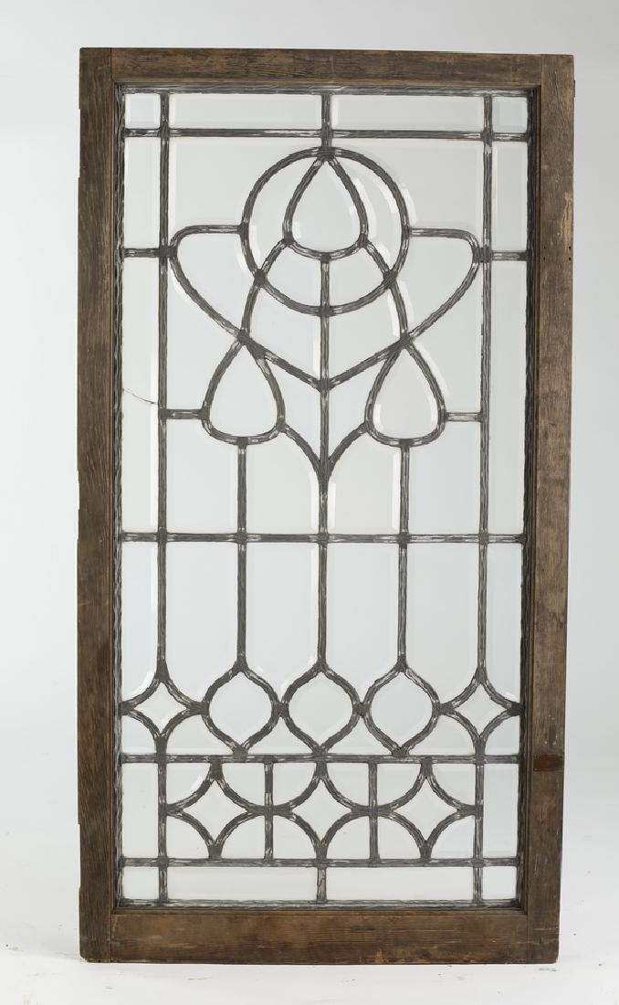 "19th c. American leaded beveled glass window, 60""h"