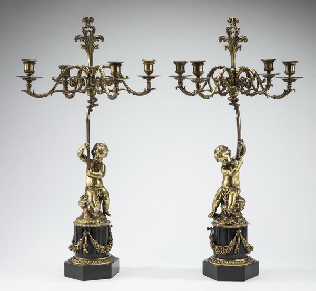 (2) Early 20th c. French bronze & marble candelabra
