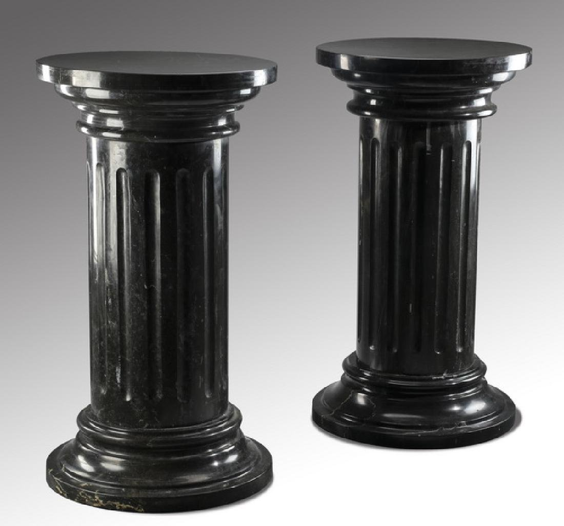 "Pair of black Belgian marble pedestals, 35""h"