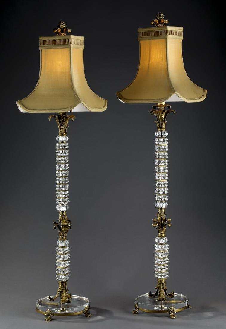 (2) Contemporary glass table lamps with gilt accents