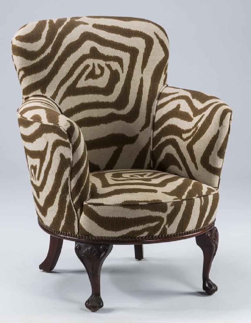 "Petite zebra print club chair, 36""h"