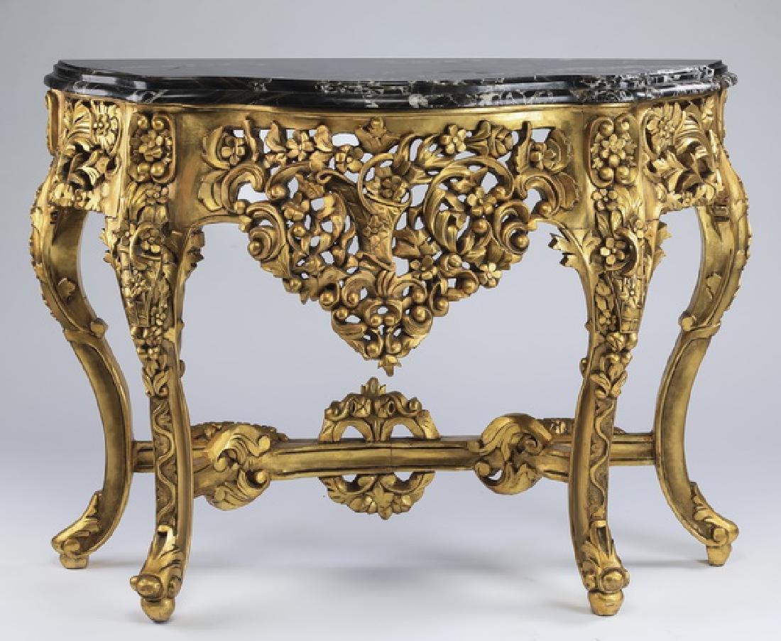 Italian marble & gilt wood demi-lune console