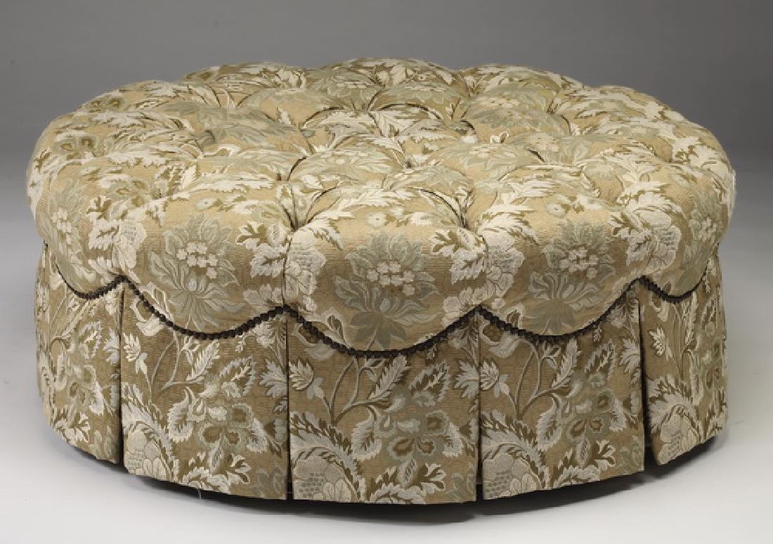 """Henredon button-tufted brocade ottoman, 40""""dia"""