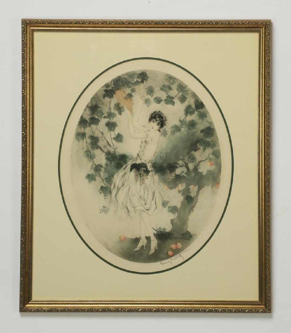 Louis Icart signed 'Miss California' etching, framed
