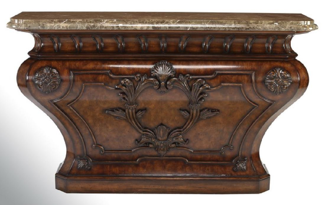 Henredon marble and burl bombe console