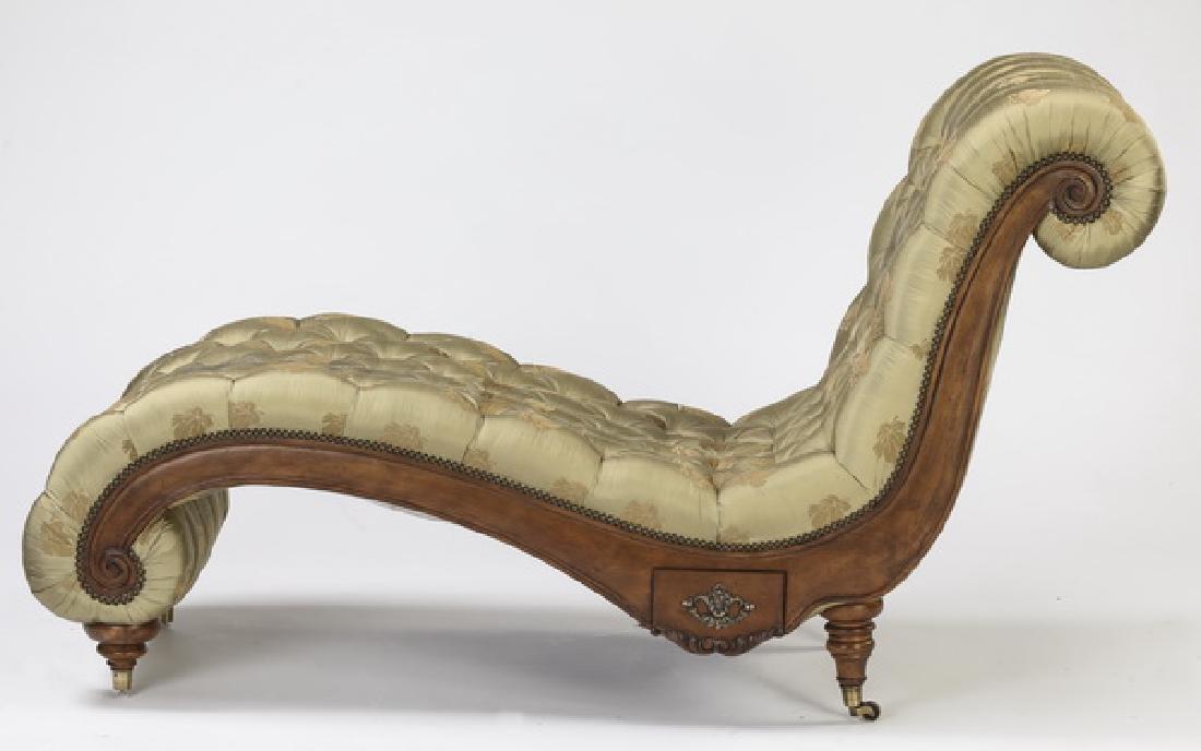 "Henredon 'Aristocrat' silk upholstered chaise, 70""l"