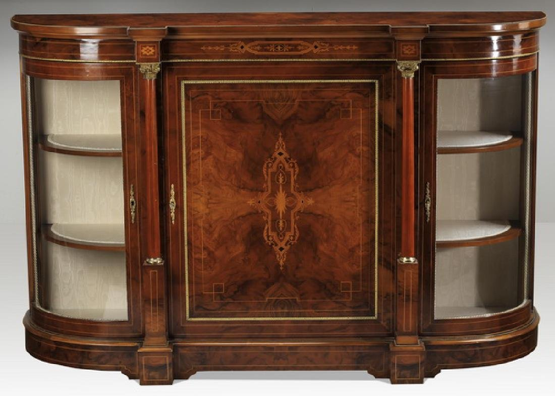 Italian inlaid and bronze mounted demilune buffet