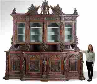 Monumental 19th c. Italian carved figural cabinet