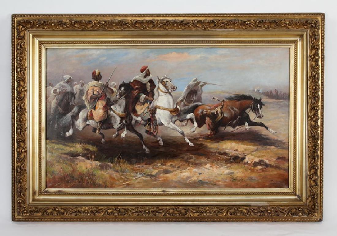 Feodor Von Luerzer signed Orientalist O/c of cavalry