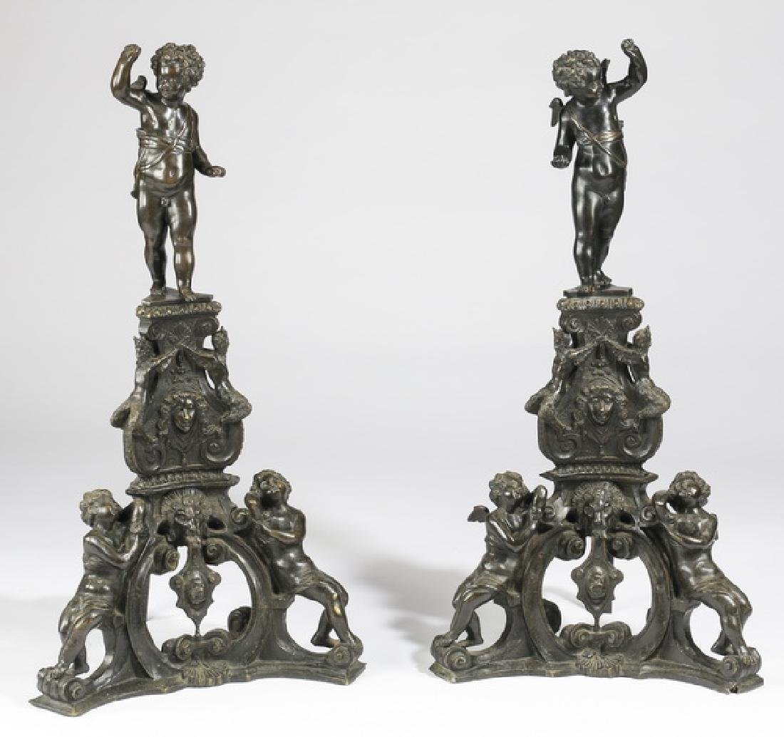 "(2) Oversized 19th c. figural bronze andirons, 41""h"