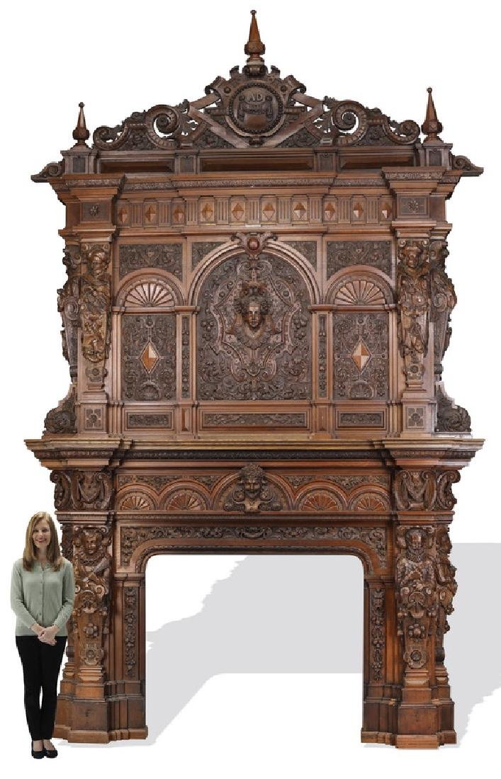 Monumental 19th c. carved oak figural mantel