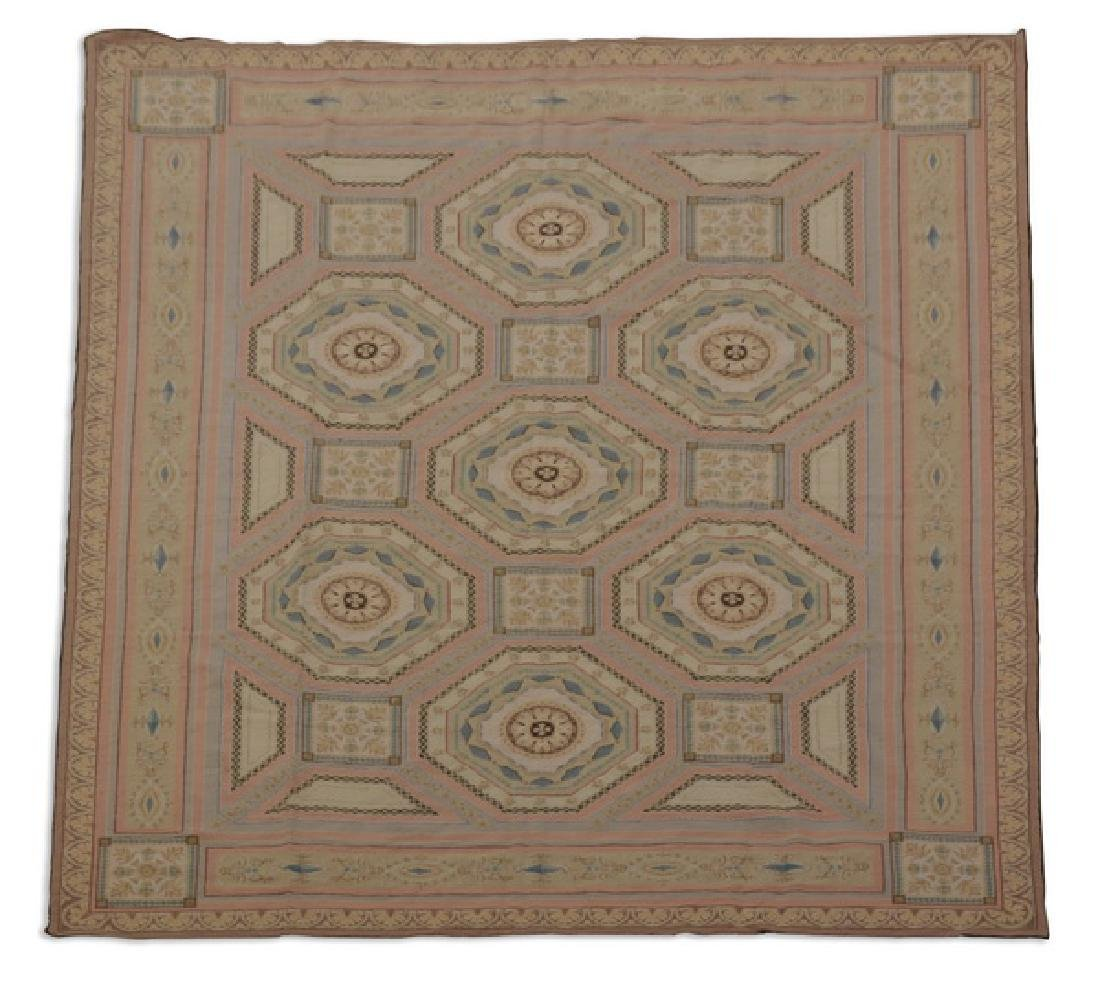 French needlepoint style flat woven rug, 10' x 7'