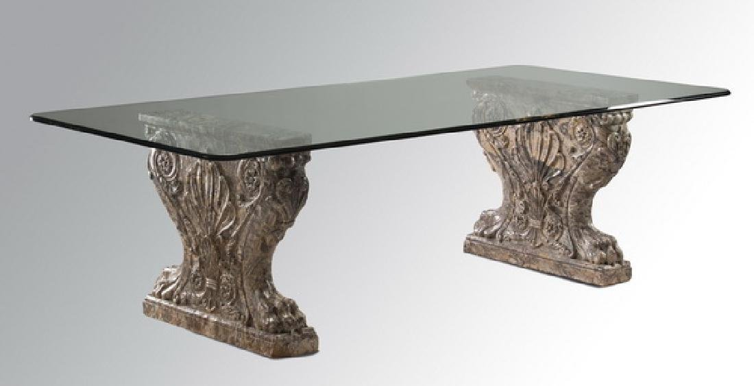 Custom dining table with Italian marble supports