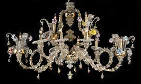 "Venetian Murano glass gondola style chandelier, 55""w"