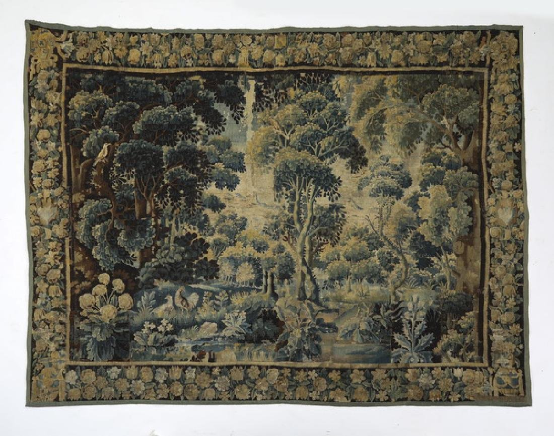 "18th c. hand knotted Flemish verdure tapestry, 135""w"