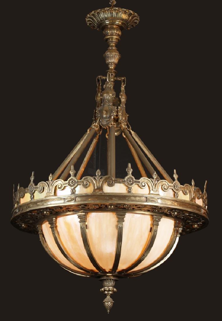 "American bronze chandelier w/ art glass panels, 68""h"