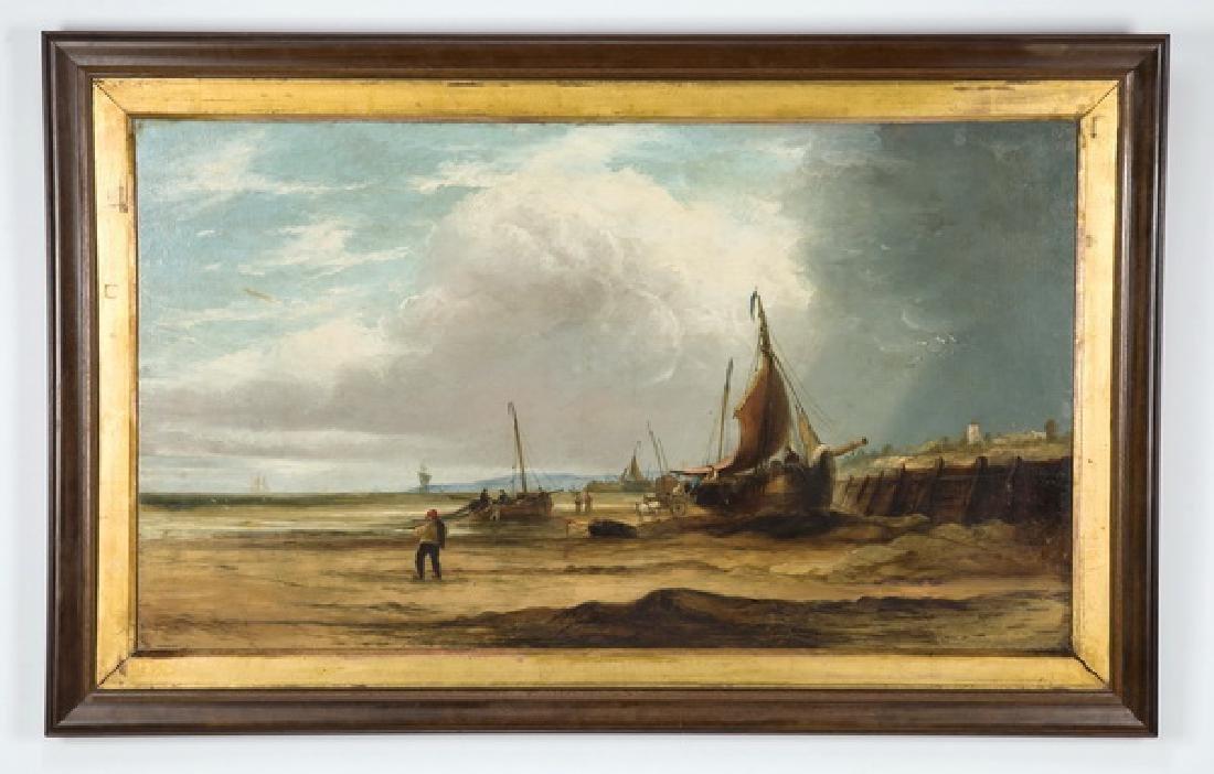 19th c. Continental O/masonite of fisherman on shore