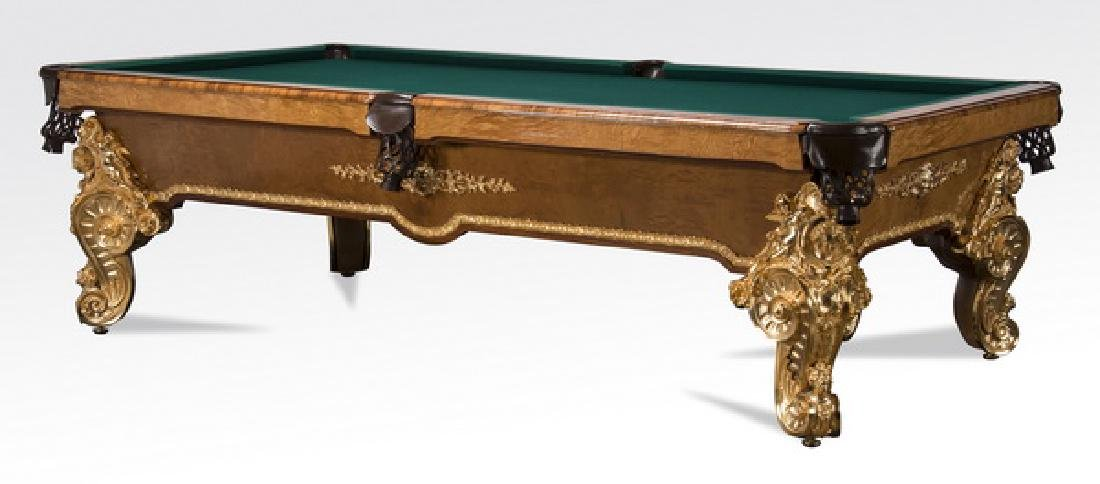 Custom crafted Italian gilt bronze mounted pool table