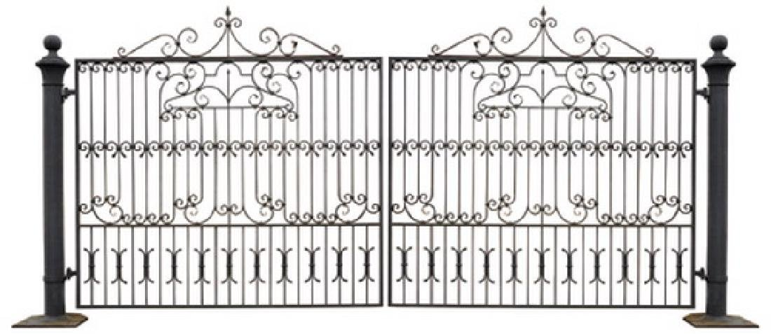 Pair of hand forged wrought iron entry gates