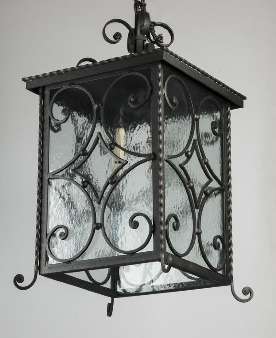 "Wrought iron Spanish revival style lantern, 26""h"