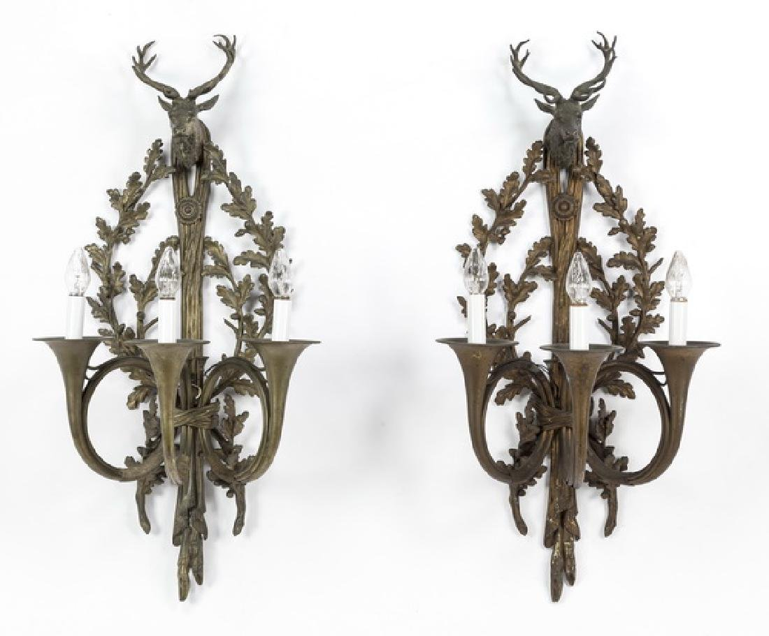 "(2) Bronze stag mount wall sconces, electrified, 42""h"