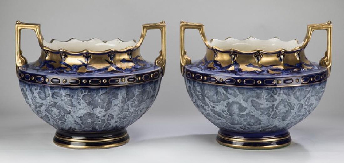 (2) English parcel gilt & cobalt jardinieres, 19th c.