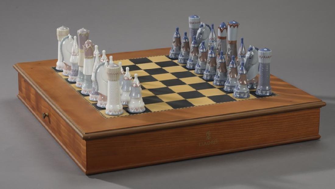 Lladro porcelain chess set w/ figural medieval pieces