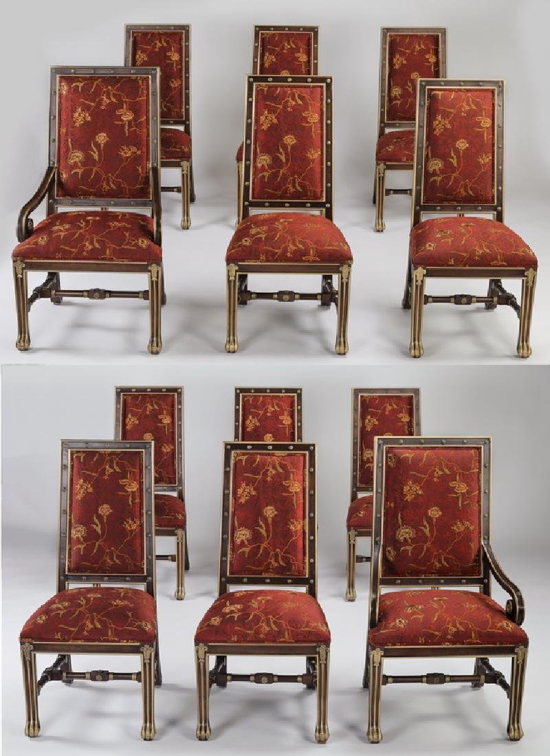 (12) E.J.  Victor silk upholstered dining chairs