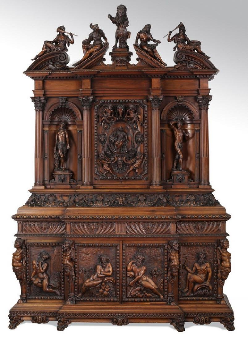 Exceptional 19th c. Italian carved figural cabinet