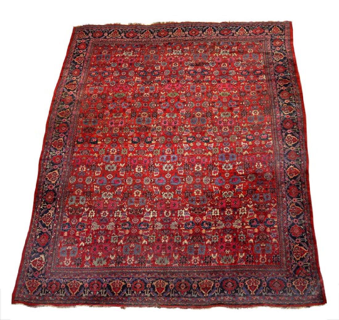 19th c. Persian Bidjar Harshang natural dye, 18 x 12