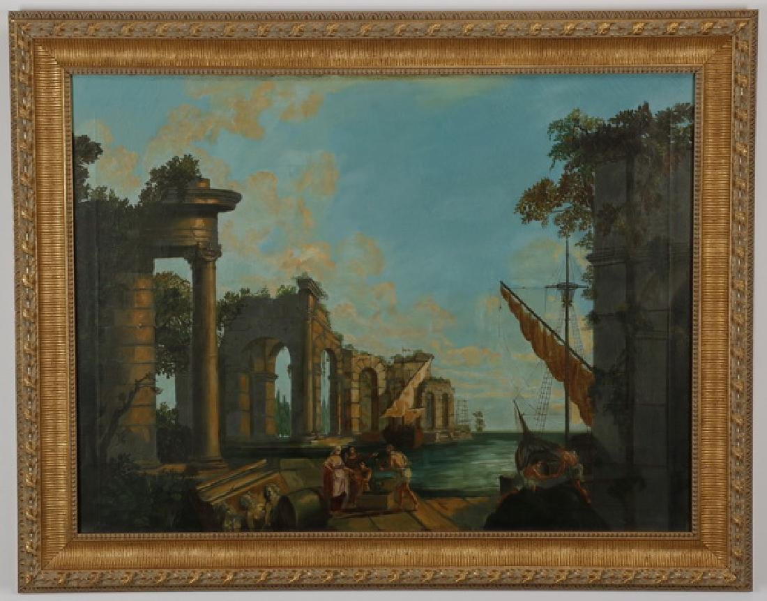 Manner of Claude Lorrain, O/c harbor scene w/ ruins