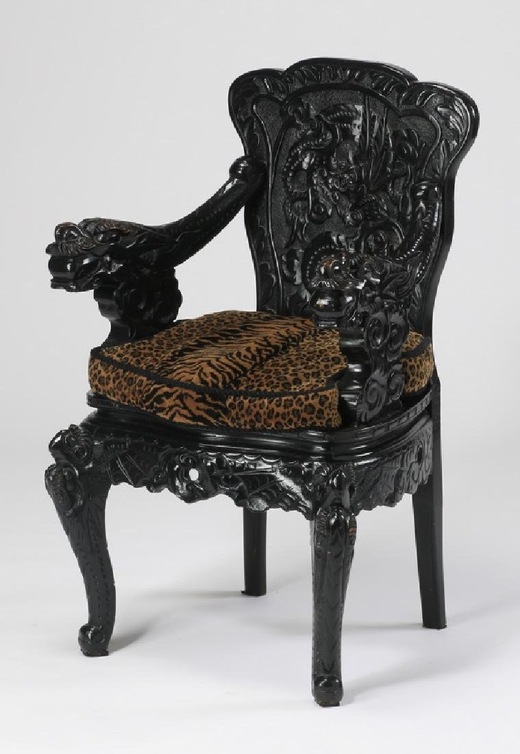 19th c. Chinese armchair with carved dragon motif