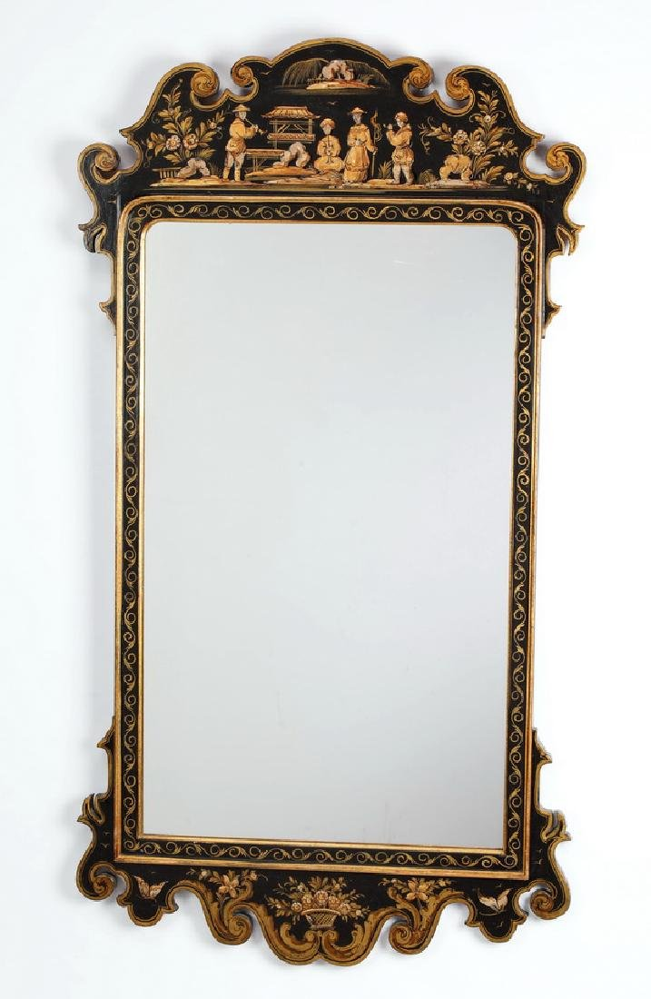 Chinoiserie inspired lacquered mirror