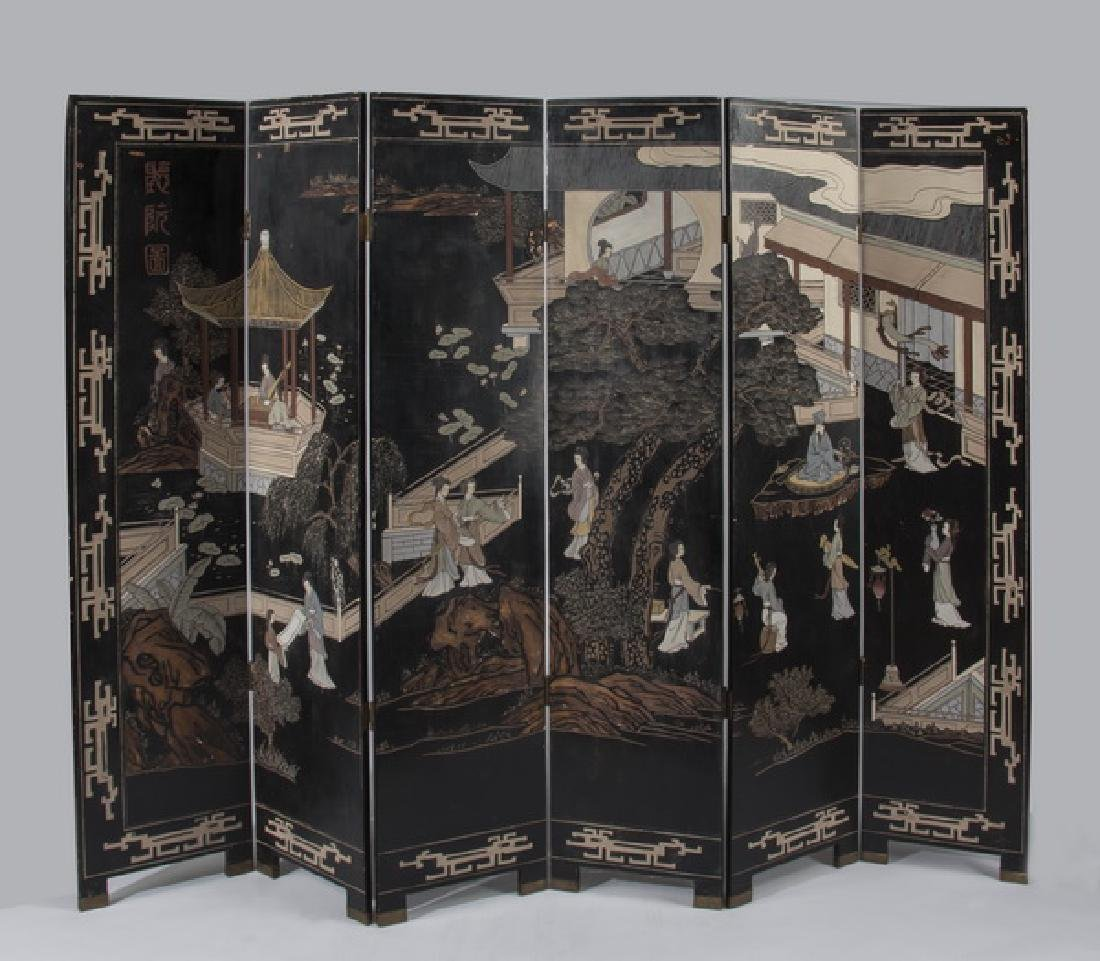Chinese black lacquered screen, w/beauties & scholars