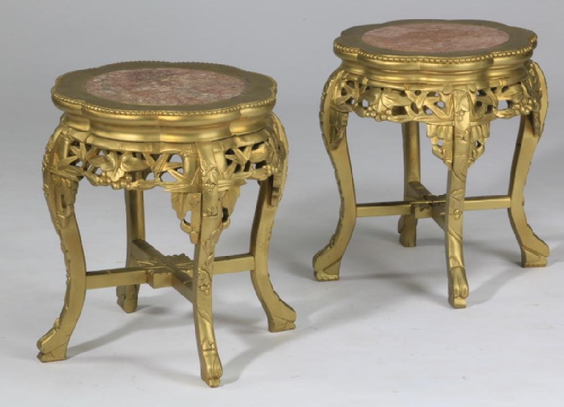 (2) Asian inspired marble top low tables