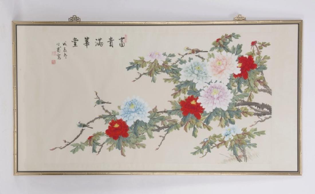 "Chinese watercolor 'huaniao hua' scroll, 70""w"