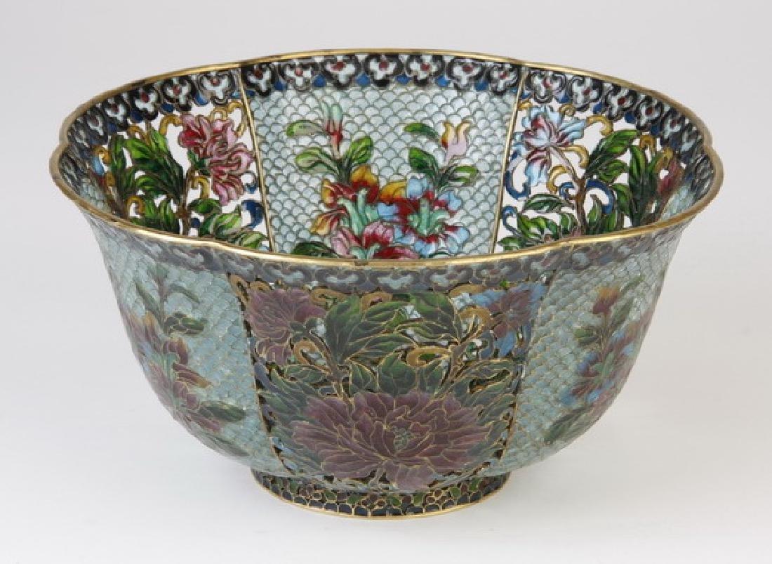 "Chinese plique-a-jour enameled bowl, 8"" diam"
